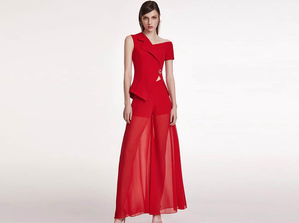 红色商务气质佳丽服
