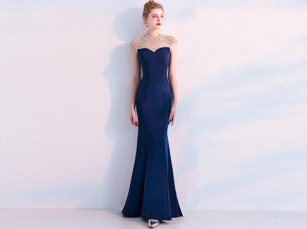 藏蓝色鱼尾长裙